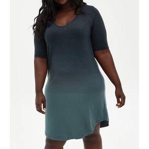 🆕 Black Green Ombré Soft Knit T-Shirt Dress 2X 18